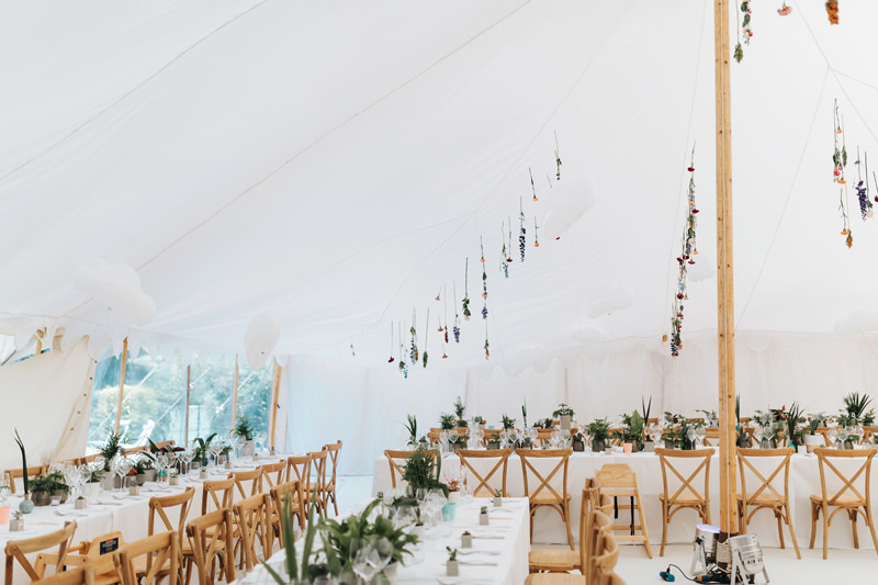 modern botanical wedding marquee