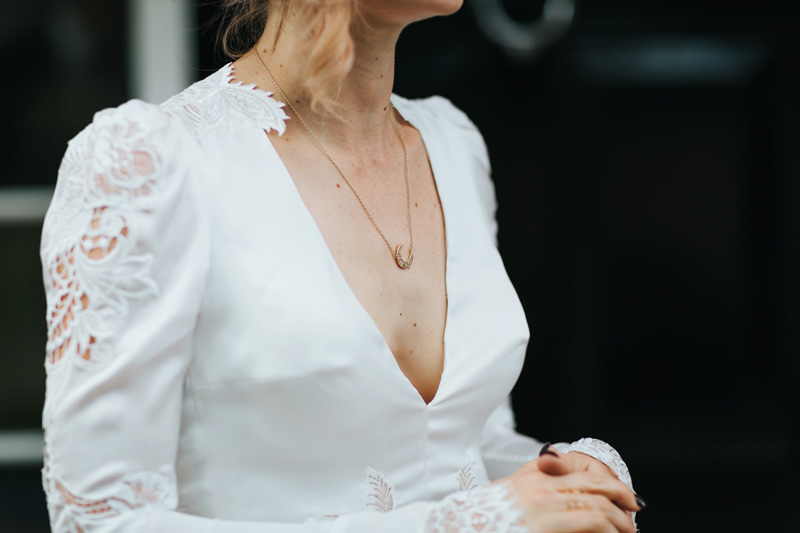 inbal dror bride with half moon necklace