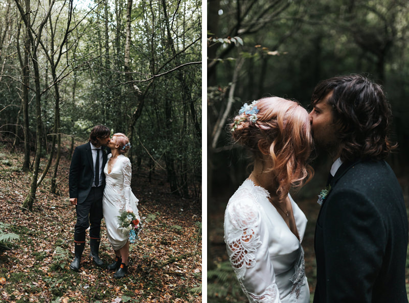 bride and groom in woodland setting by destination wedding photographer miss gen