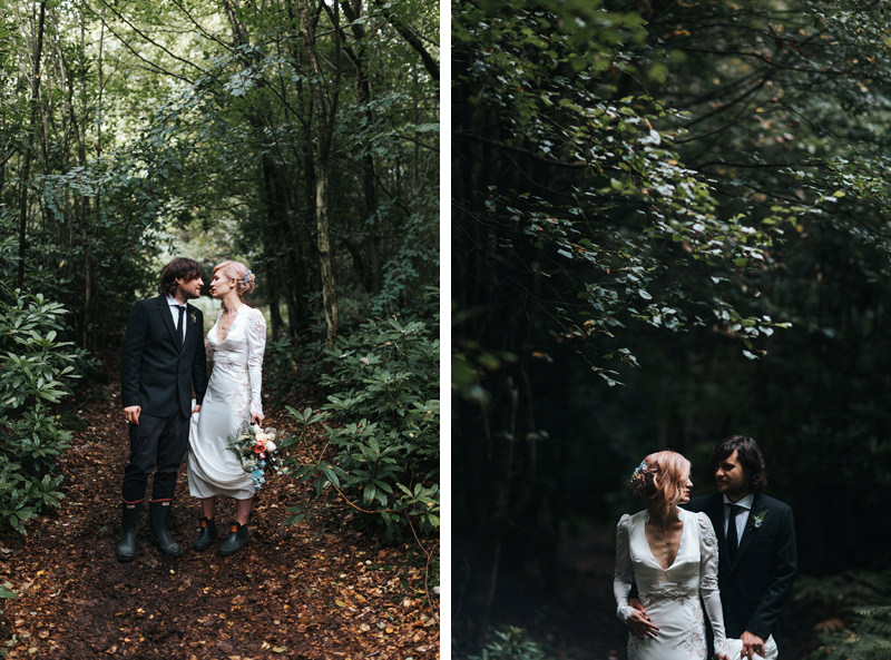 natural bride and groom portraits in woodland setting by destination wedding photographer miss gen