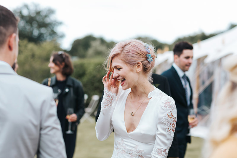 inbal dror pink hair bride