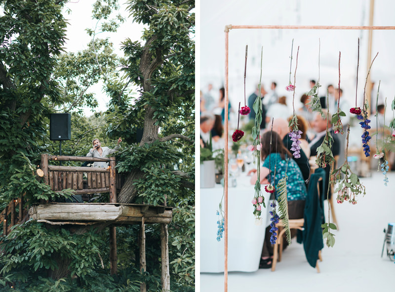 treehouse wedding & hanging flowers in marquee by london wedding photographer miss gen in kent