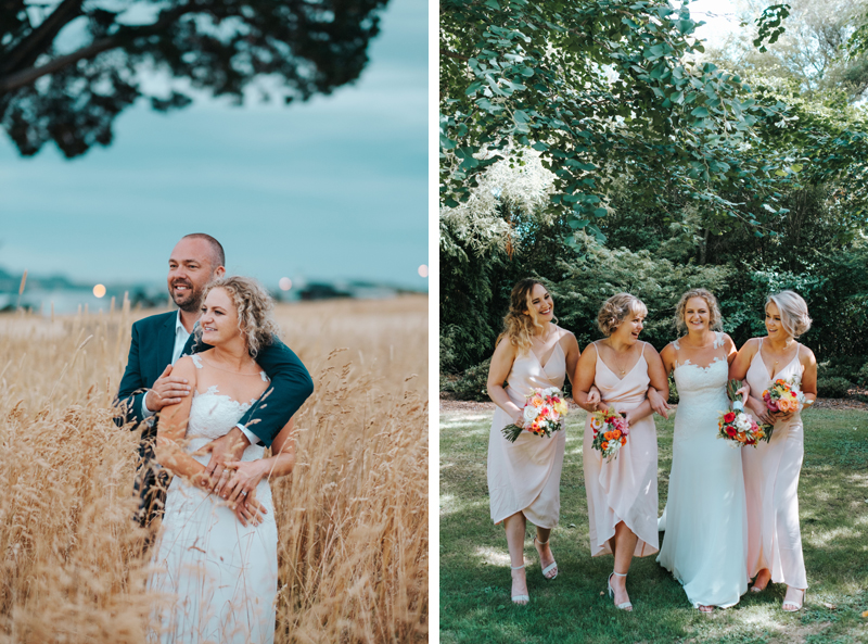 beautiful bride and groom portraits & bridesmaids in pink by modern new zealand wedding photographer miss gen