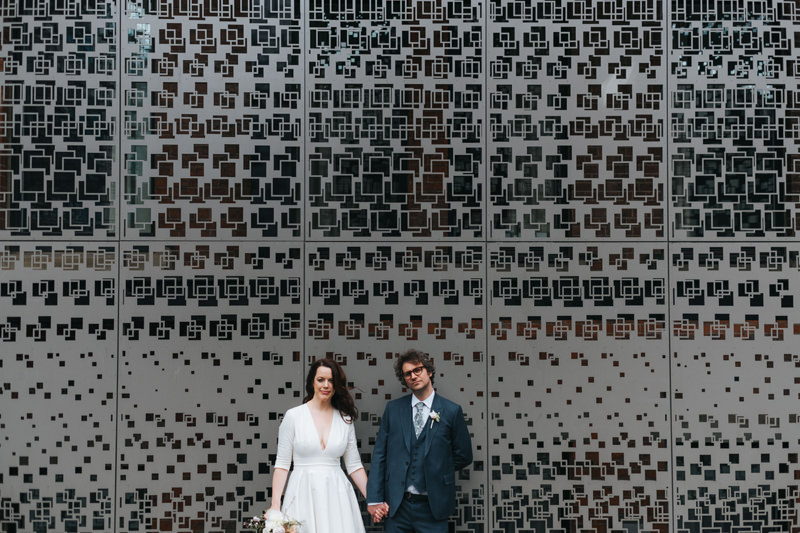 bride and groom in east london by alternative modern wedding photographer Miss Gen