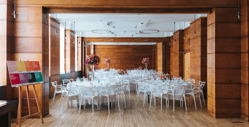 town hall hotel set up for modern colourful wedding by london wedding photographer miss gen