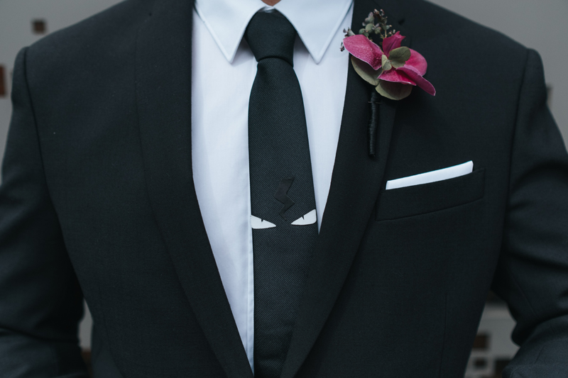 awesome black and white tie with eyes, modern groom style in london