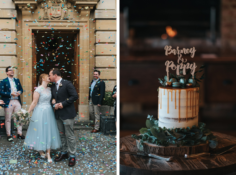 bride and groom confetti outside woodstock town hall & wedding cake at soho farmhouse by contemporary destination wedding photographer miss gen