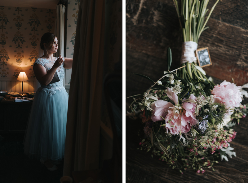 beautiful spring wedding at soho farmhouse, bride by the window & bridal bouquet by miss gen