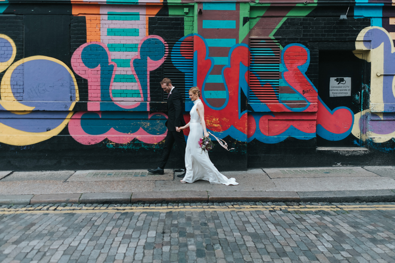 modern bride and groom portrait in shoredtich by london wedding photographer miss gen