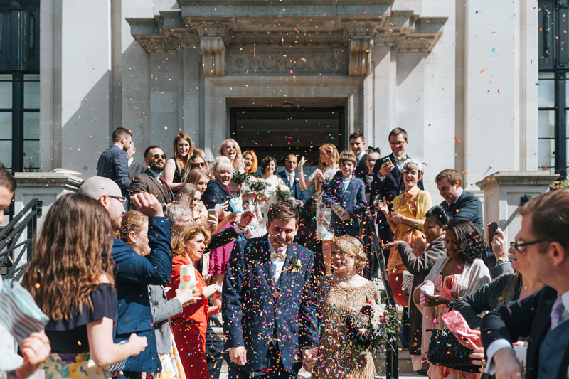 colourful london wedding