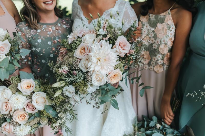 beautiful blush & eucalyptus bouquets by modern wedding photographer miss gen