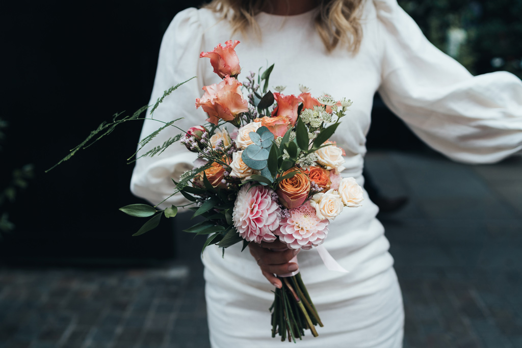 peach summer wedding bouquet