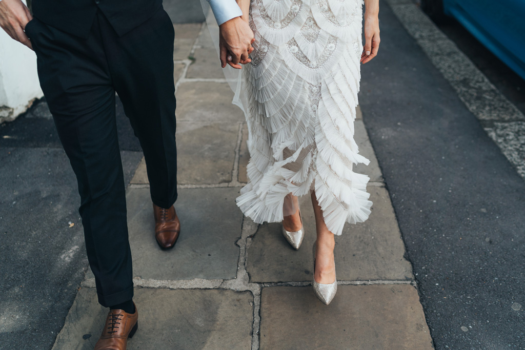 bespoke ruffled wedding dress