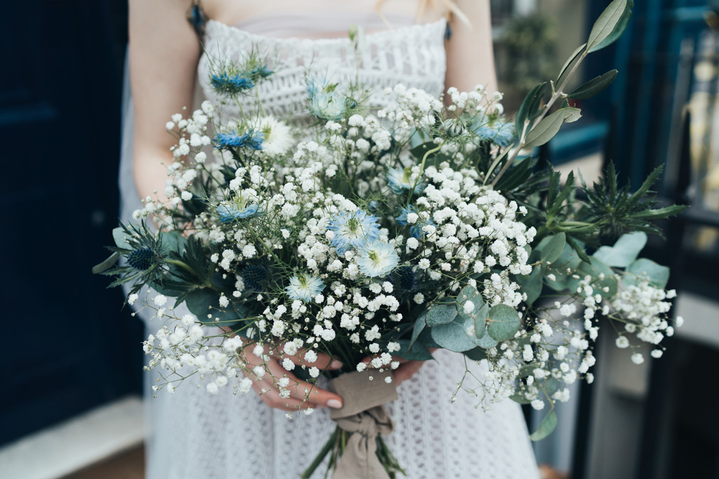 white blue bridal bouquet