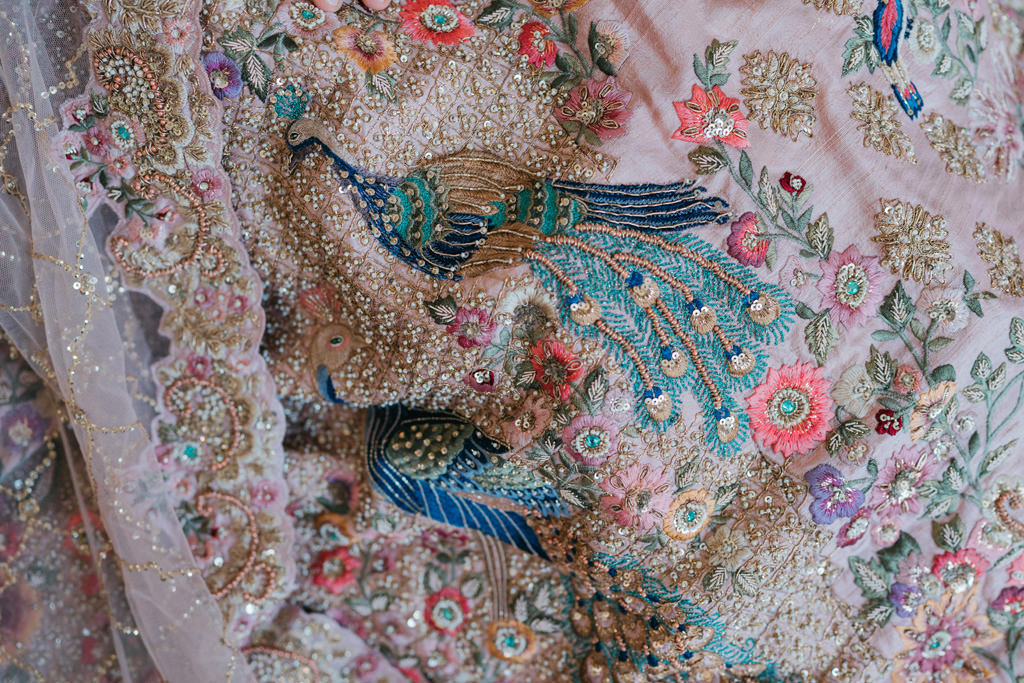 peacock embroidered dress