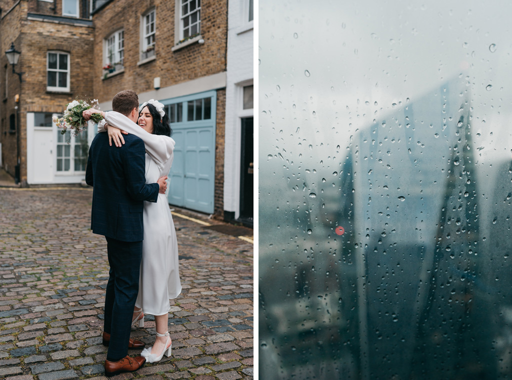 rainy london wedding
