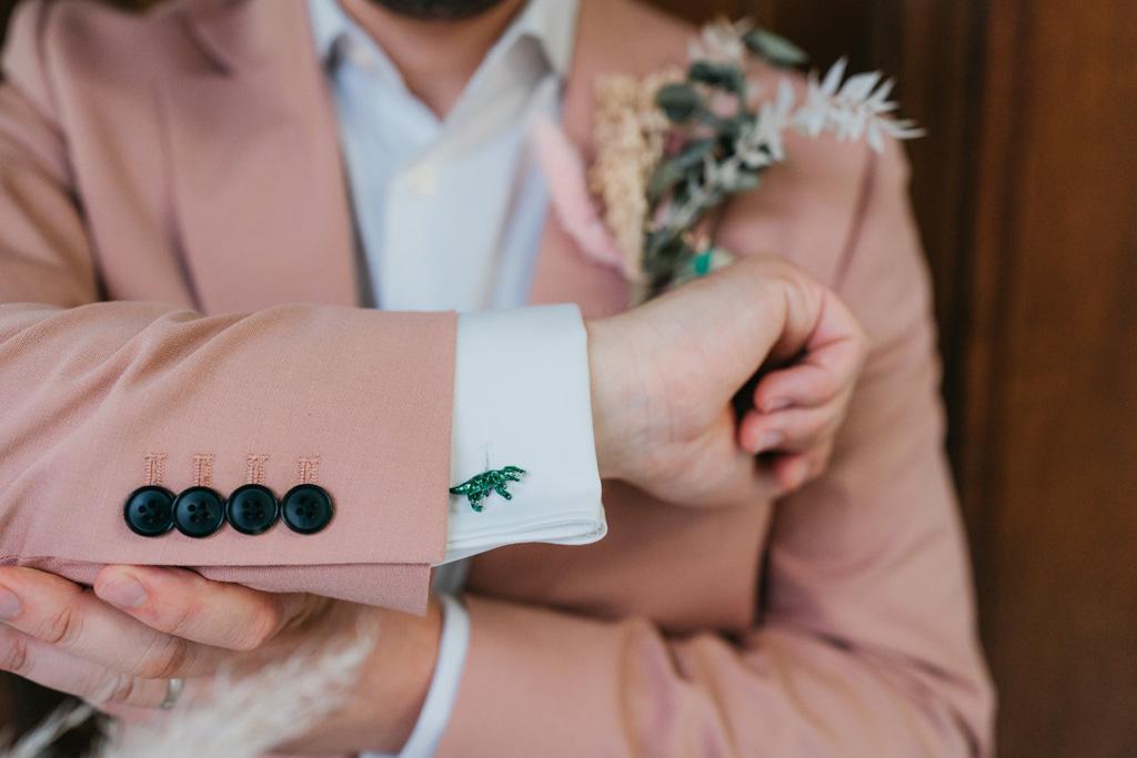 pink wedding suit